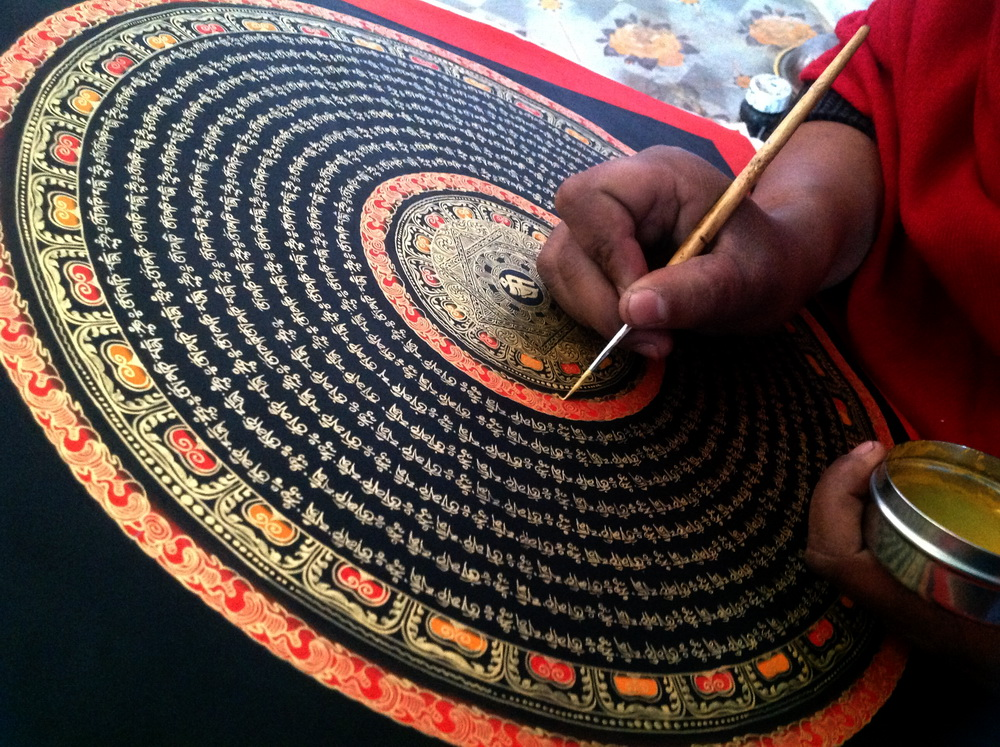 Like the Buddha Beads 40 x 40 Tangka painting hanging six-word true word altar city curse wheel Nepal Tibetan lama pure hand-painted