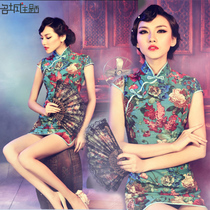 Cotton and linen slimming sexy ultra-short style show party cheongsam
