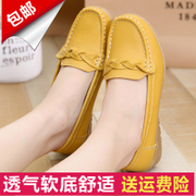 Spring and summer mom shoes, single shoes hollow out, middle-aged and old leisure shoes, anti-skid soft bottom slope, heel big size work shoes, peas shoes women