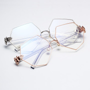 The irregular octagonal glasses with a pearl power power nose glasses frame Pingguang glasses polygon rhombus female
