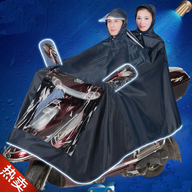 Fashion of electric bicycle raincoat for double motorcycle