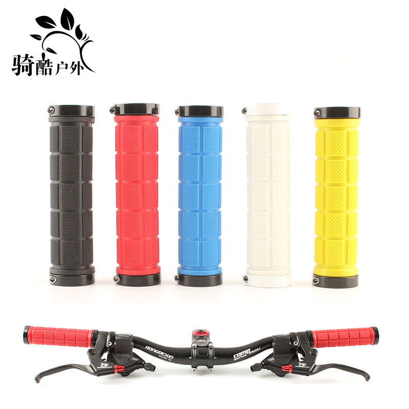 Ride cool outdoor mountain bike lock handle set colorful double-end lock grip soft cover set