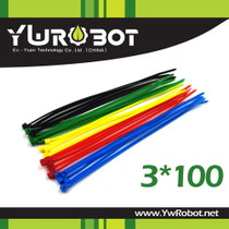 (YwRobot) Common tool Colored nylon strap 3 x 100mm harness finishing five-color set 100 pieces