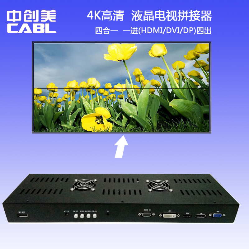 Zhongchuangmei 4K HD TV Mosaic Box HDMI/DP/DVI Interface 4 in 1 image stitching processor