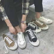 Spring couple canvas shoes lace up shoes to help low male Korean students leisure sports shoes shoes white male in summer