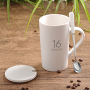Creative ceramic cup large capacity glass mug simple couple cup with lid spoon coffee cup milk cup customization