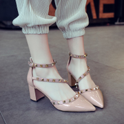 Orange high-heeled shoes spring 2017 new word buckle shoes all-match rough documentary nude female summer with leather sandals