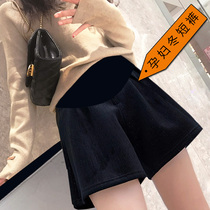 Autumn and winter thickened gold velvet pregnant women winter winter wear leggings tide mom fashion leisure wide leg shorts
