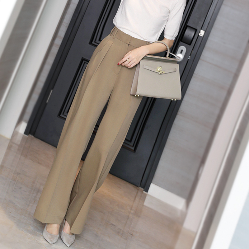Japanese commuters show high-waisted thin black casual pants womens high-waisted straight straight loose-legged pants with a sense of a hundred suit pants