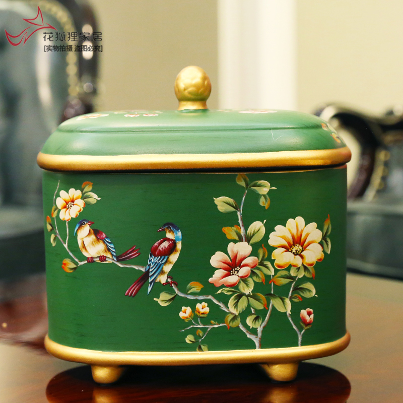 American-style retro ceramic tea cans, storage cans, ornaments, creative furniture, living room, personal decorative cans