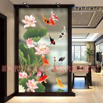 Moderne vitrail art verre partition écran Salon Lumière givré sur mesure en acier artisanat poissons entrée fond mur