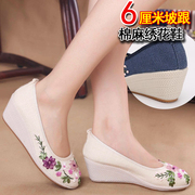 The new Chinese clothing collocation old Beijing shoes China wind slope with folk style shoes high-heeled women shoe linen