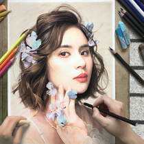 Sketch portrait portrait pure hand-painted real head turn painting photo color lead painting on behalf of the sketch head custom