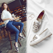 2017 summer new pearl diamond straw shoes slip-on flat round fisherman student loafer shoes