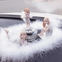 Car Decoration car Creative feather cute angel Solar spin flower fairy car Perfume Ornament Girl