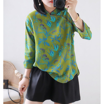 Heart-tinged emerald green 20 autumn fresh print improved Chinese style han clothing loose silk improved cheongsam top