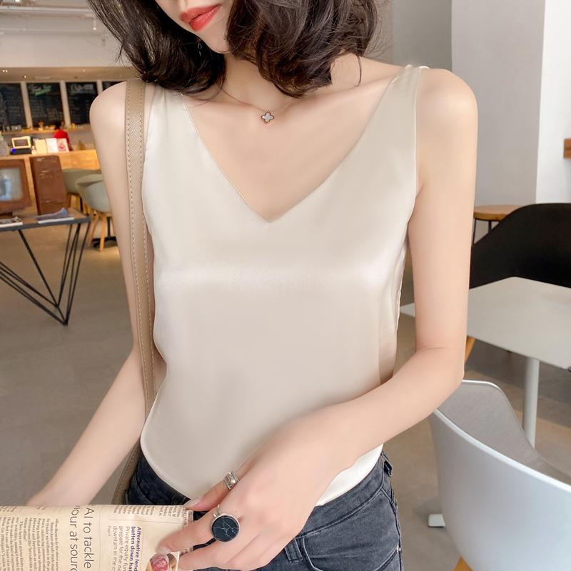Silk camisole Female inner suit White Black base Satin imitation mulberry silk top Small summer v-neck