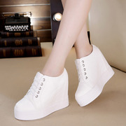 Spring summer 2017 Korean increased thick soled shoes leisure shoes all-match super white women's high-heeled shoes breathable