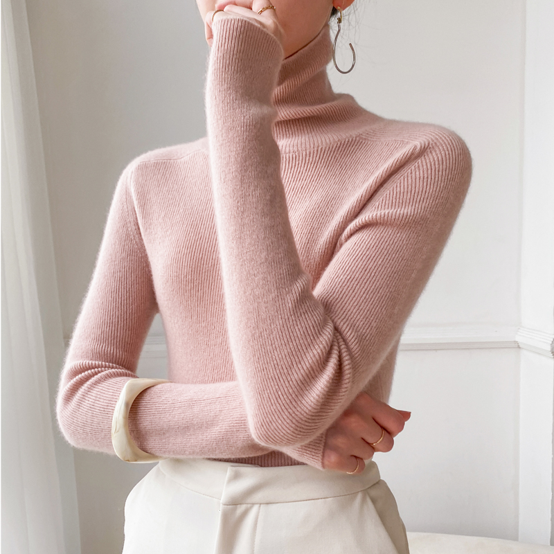 Autumn winter new high-necked cashmere sweater women 100% pure Kashmir wool tight high-neck sweater head knitted sweater