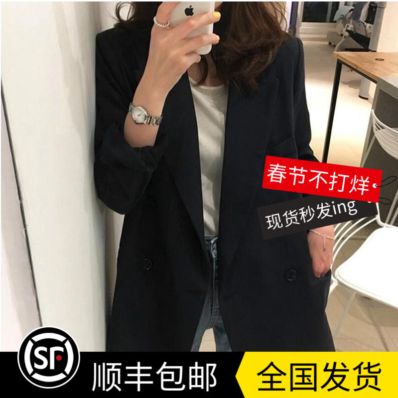 LOSTSOULS Japan early spring double-row buckle black hundred suits hundreds of commuter suit casual jacket women