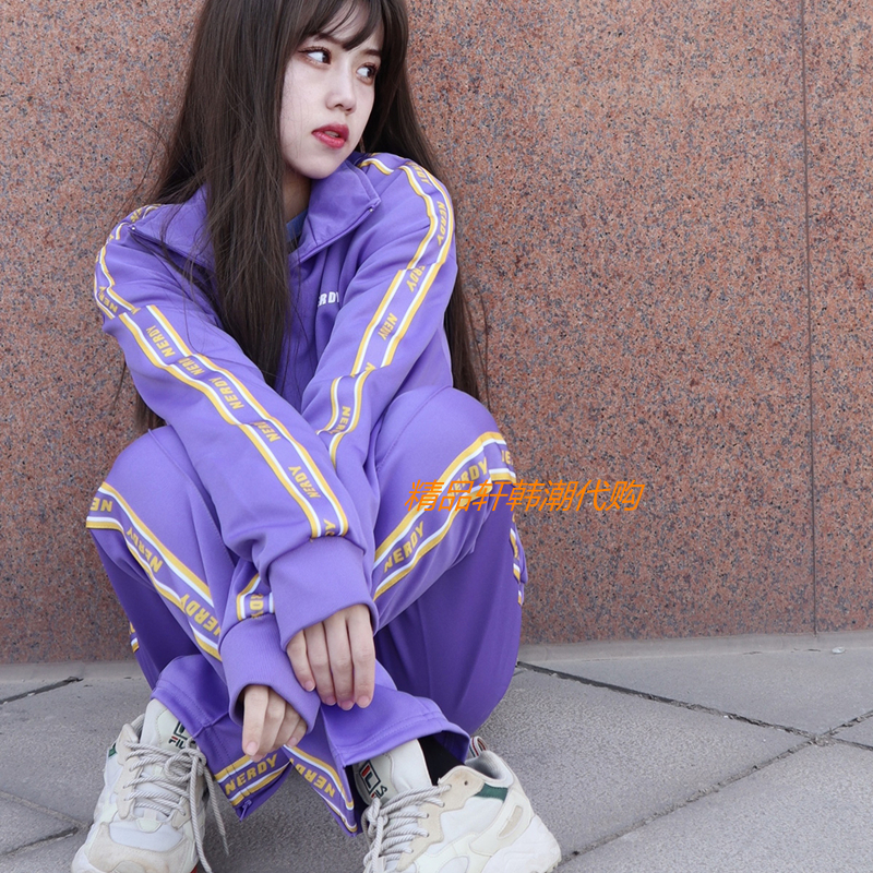 South Korea AGNES NERDY21S star with the same sportswear suit letter string label casual loose jacket