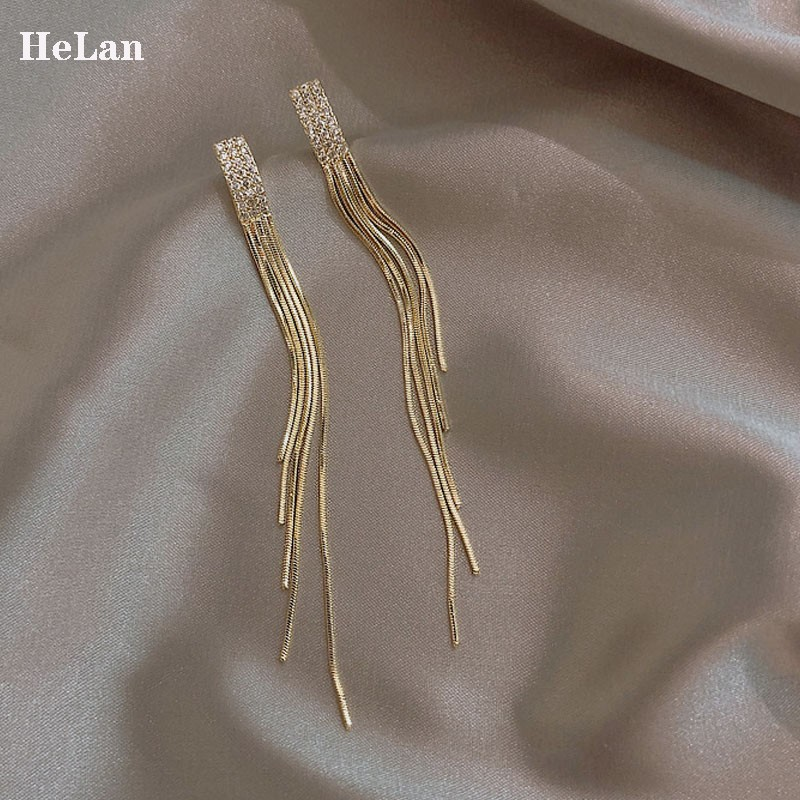 The long temperament of the long-style feline earrings super fairy net red and silver needle earrings 2021 new trendy high-level sense of pure silver earrings