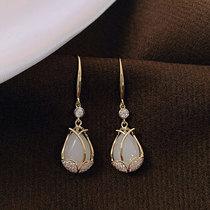 Tulip opal earrings womens sterling silver 2021 new fashion atmospheric temperament niche design sense high-grade ear hook