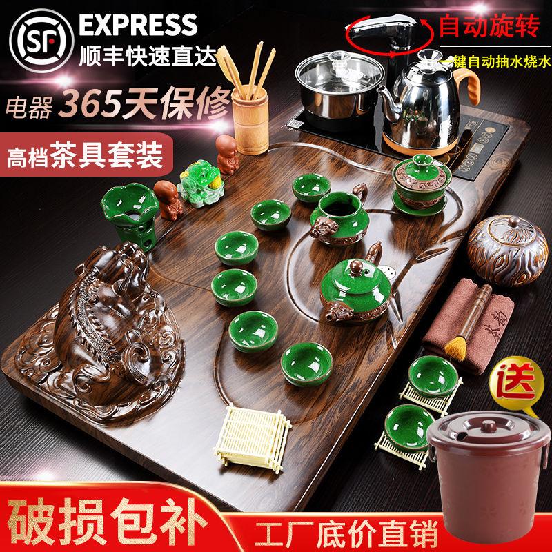 Kung Fu Tea Set Home Living Room Office guest ice crack ceramic teapot teacourse set of tea table tea ceremony