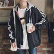 Korean baseball uniform spring autumn male couple loose hooded jacket men's youth sport coat all-match trend