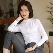 Women's long sleeved white shirts, 2018 spring suits, new Han Fan white shirts, bottoming, thickening, warmth and autumn and winter.