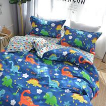 Хлопок мультфильм три или четыре кусок набор мальчик динозавров студенческие общежития Детский постельных одно Одеяло Обложка кровати