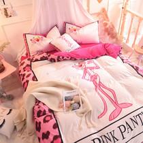 Осень и зима кристалл бархат теплый три или студенты 4-х частей установить розовый леопард утолщенной Одеяло Обложка детский мультфильм постельные принадлежности