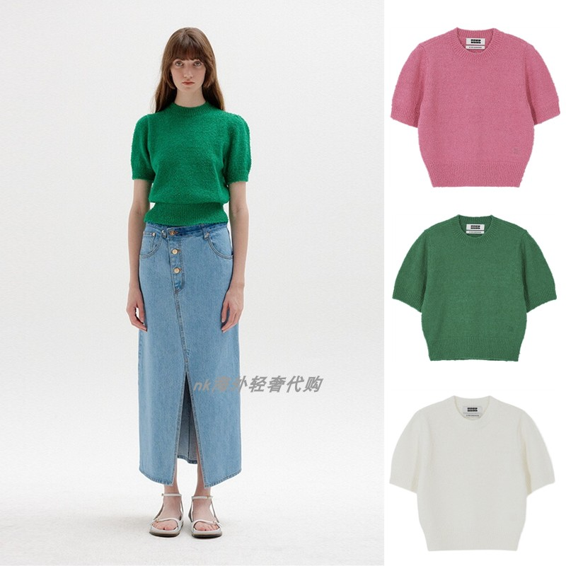 South Korea EENK Kong Hyo-jin with the same 2021 early spring new item solid-color short-sleeved puff-sleeved sweater women
