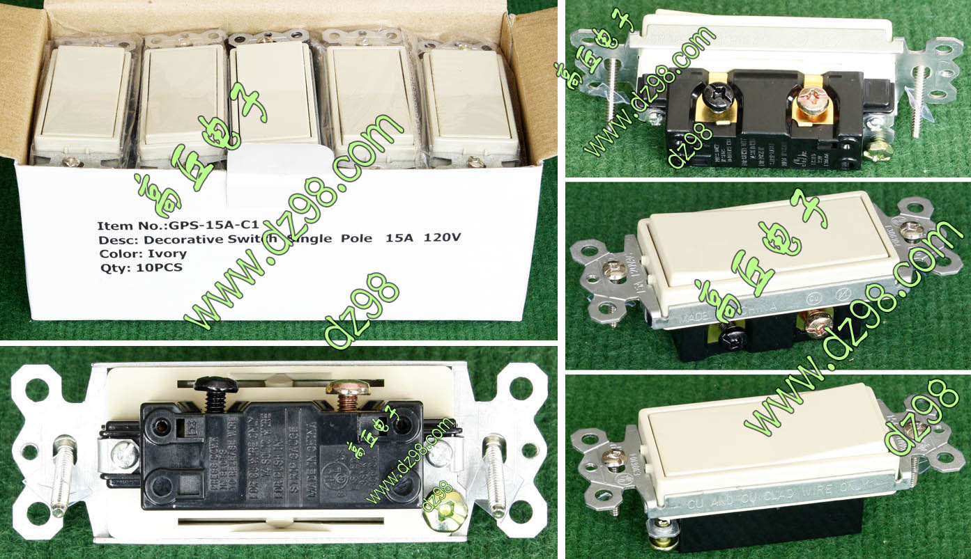 GPS-15A-C1 resembles white 120V 15A 2-wire single-control 1-bit power switch American standard panel switch