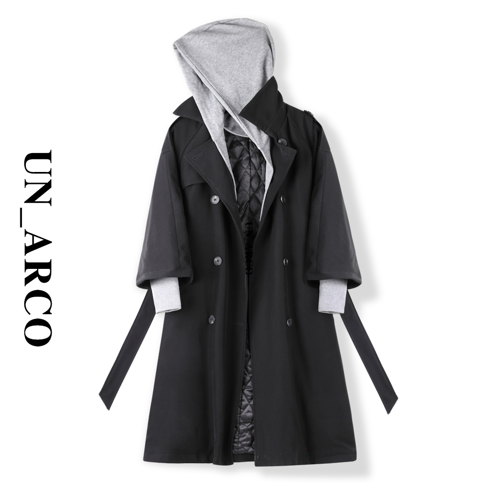 2020 new Asokawa design sense bumpy fried street medium long version of wine a windshield loose black autumn and winter coat girl