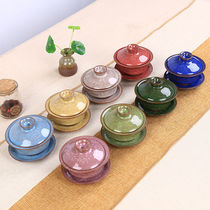 Ceramic purple sand kung fu tea set ice cleavage glaze set seven colors three to cover a bowl of tea cup promotional gift gift gifts