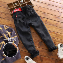 Boys black plush jeans in the big childrens pants winter version of the Korean version of the childrens one-piece velvet soft denim pants
