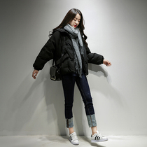 Winter fashion hooded padded loose white duck down jacket