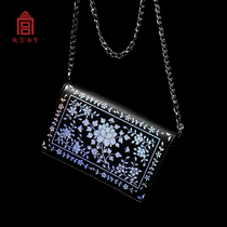 (Forbidden City Taobao) Luodian Peony grain-black dazzling color chain shoulder bag