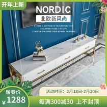 Nordic TV cabinet coffee table combination of modern minimalist marble small bedroom simple floor paint iron