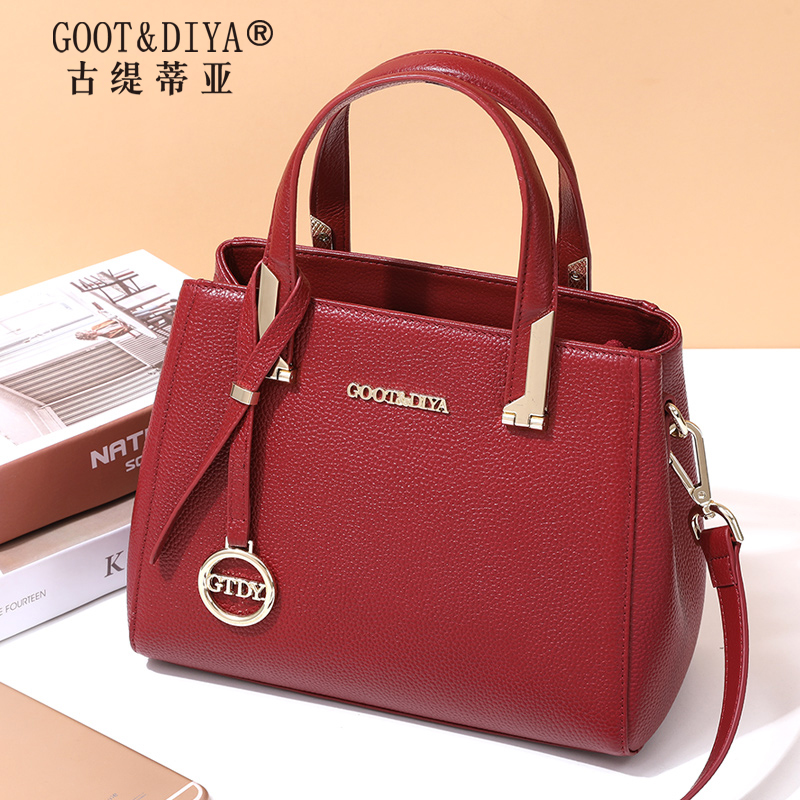 Genuine leather lady bag 2019 new fashion handbag lady mother bag middle-aged cowhide lady bag lady bag lady oblique Bag