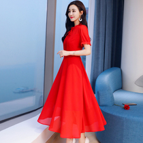 2018 summer new model Evening Dress red Chiffon dress back to the door clothes toast clothing Bride Wedding Dress