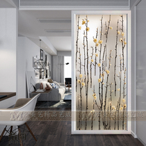 Art Deco glass porch background wall branches partition screen Jane European carved craft tempered matte frame