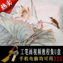 (U disk set)gongbi painting video tutorial collection gongbi painting flower art tutorial training for beginners