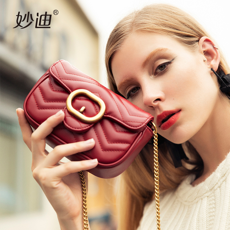 Harbor wind bag female mini crossbody bag 2018 new retro ins super fire texture small fragrance wind chic chain bag