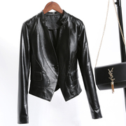 2017 new single spring leather female short Haining sheepskin slim slim suit jacket special offer