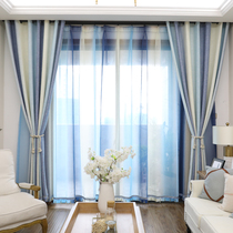 Nordic wind simple modern living room bedroom floating window Mediterranean custom curtain shading striped cotton hemp curtain finished product