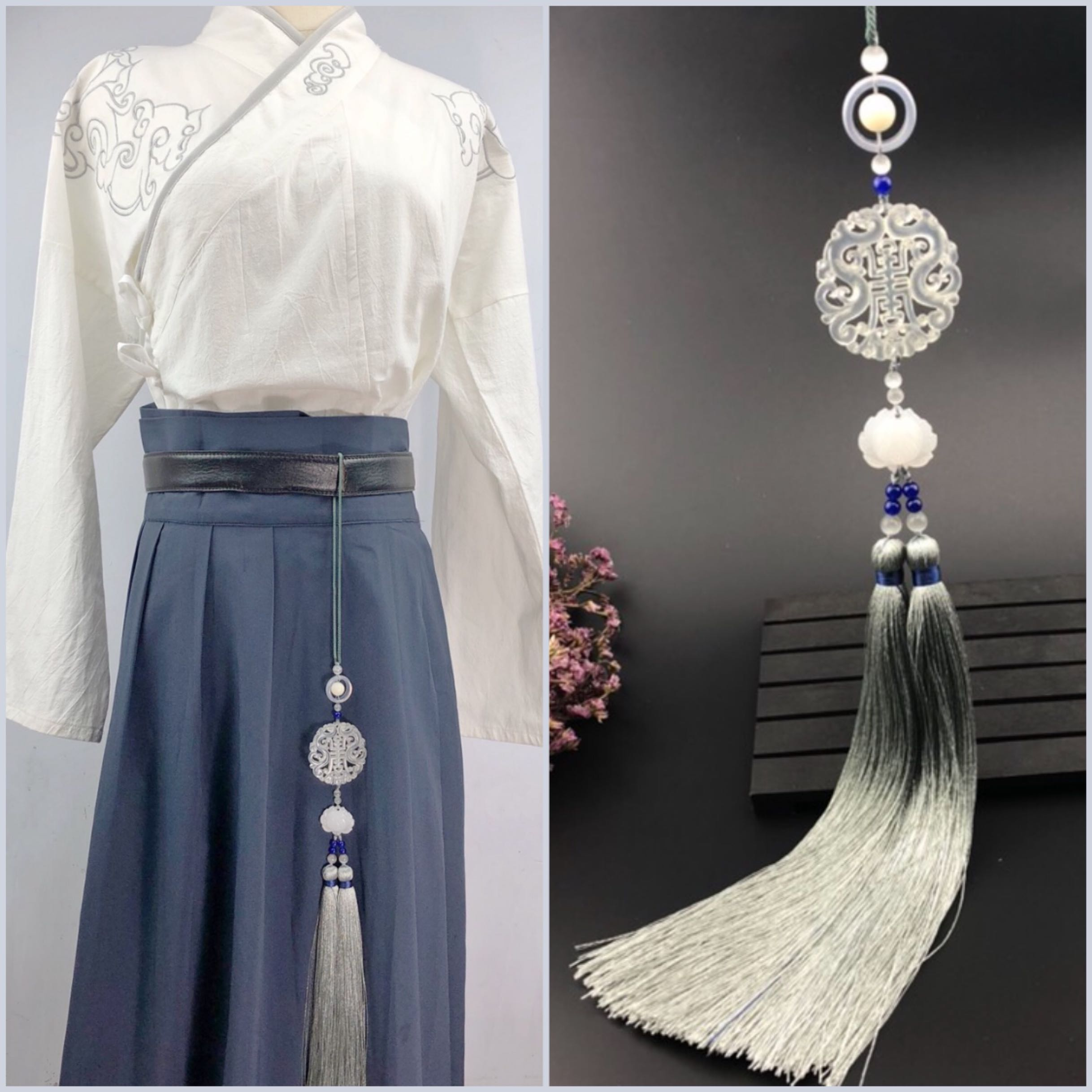 The ancient style Han clothing jade Pai Lusu waist Pe ancient dress forbidden waist accessories Chinese-style pressure couple love letter props