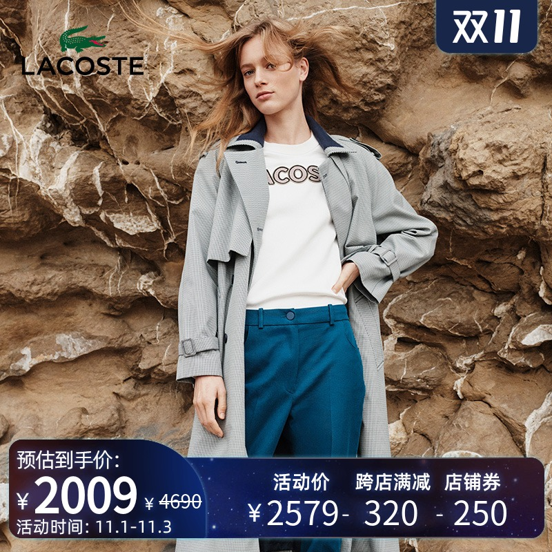 LACOSTE Lacoste womens autumn winter fashion ancient thousand birds long version of windcoat jacket woman) BF8330