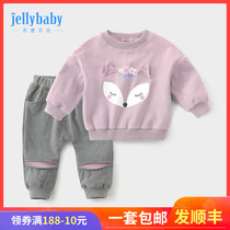 Girls spring suit 2020 new childrens Network Red small children Baby Baby half year old female baby spring clothes